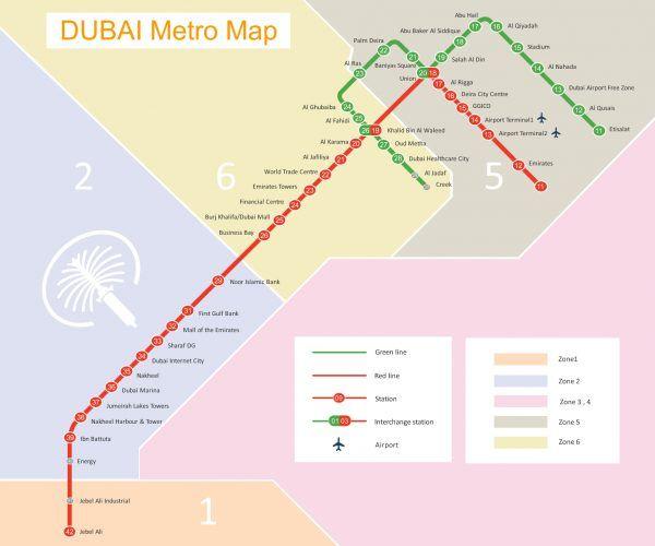 Plan du métro de Dubai